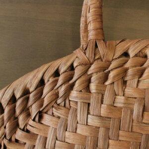 山葡萄の籠半月バッグと手紡ぎ綿糸を草木染し手織りした布の落とし込み巾着のセット(やまぶどう、山ぶどう)SA-3710かごバッグ