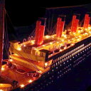 〔船内LEDライト付タイタニック 100cm X001完成品〕木製手作り大型帆船模型☆乗員乗客合わせて2...
