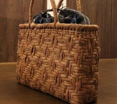 軽くて丈夫でお洒落なやまぶどう 籠バッグ山葡萄 かごバッグ SHOKUの布(手紡ぎ、草木染の手織...