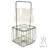 グラス付き一輪挿し花瓶フラワースタンドフラワーベースガラスアイアンホルダーワイヤーバスケット4ピースガラスホルダー/496