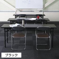 会議用テーブル折りたたみテーブル幅1800×奥行600×高さ700mm棚付き【チーク・ホワイト・ブラック】
