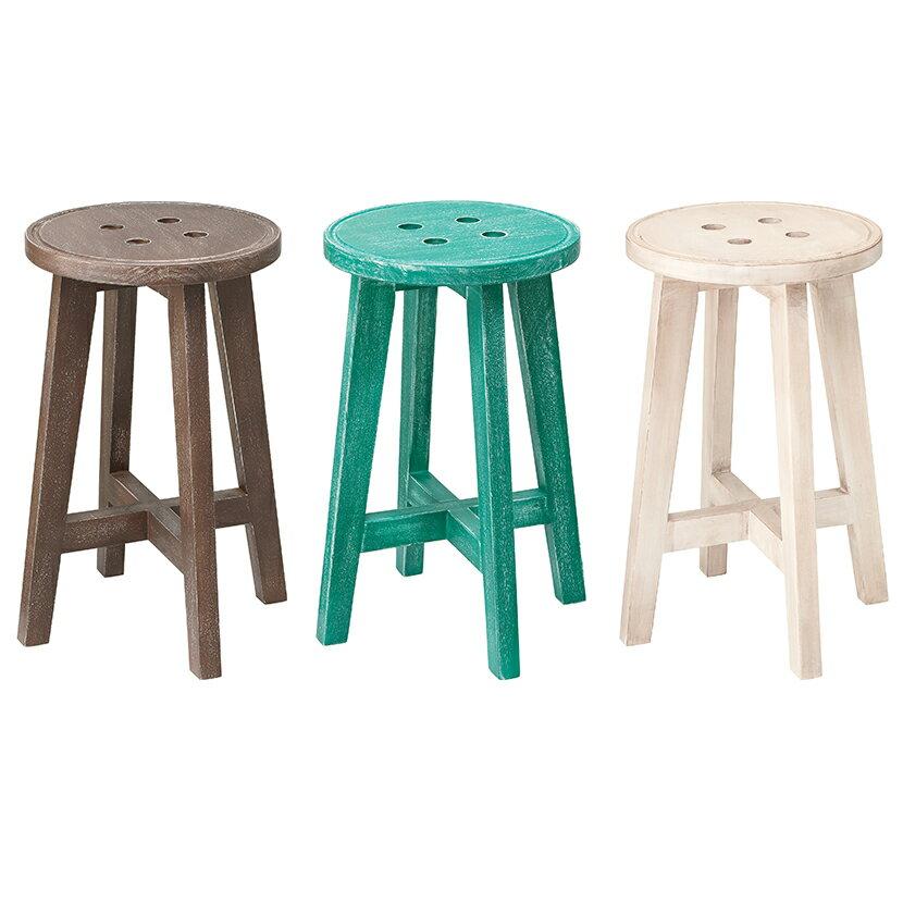 スツール アンティーク調 木製 ボットーネ 【グリーン アイボリー ブラウン】丸椅子 チェア 椅子 いす イス 天然木製 アンティーク風 ヴィンテージ ビンテージ アンティーク家具 アンティーク カントリー デザイン おしゃれ かわいい 可愛い