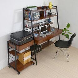 JKプラン2WAYパソコンデスク複合機ラックブラウン