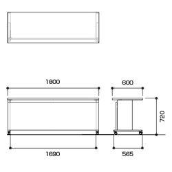 高級会議テーブルエグゼクティブテーブルアジャスト機能付リフトロックストッパー指紋レス天板/幅1800×奥行600×高さ720mm/YWS-6018【ダークウッドマホガニーペールウッド】