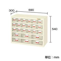 ハニーケースパーツキャビネット樹脂ボックススチールケース小6列18段+大3列6段均等耐荷重50kg幅690×奥行300×高さ540mmグリーンアイボリーHFS-186