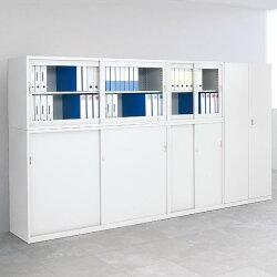 【国産】【完成品】両開きスチール書庫ホワイト幅880×奥行515×高さ1850mmオフィスキャビネット