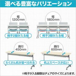 会議用テーブルフォールディングテーブル幕板なし幅1800×奥行450×高さ705mm中棚付きキャスター付き