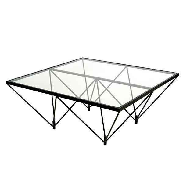 ガラステーブル 幅800×奥行800×高さ350mm 強化ガラスセンターテーブル ラウンジ 完成品 日本製