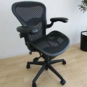 【中古】[数量限定]HermanMillerAeronChairsハーマンミラーアーロンチェアランバーサポート可動肘高機能オフィスチェア高機能チェアメッシュパソコンチェアPCチェアデスクチェアワークチェアイス椅子オフィスチェア