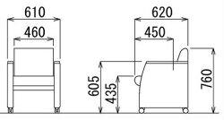 【応接会議チェア】応接チェア布張りブラックキャスター付アイコセレナアームチェアRE-5881(F18)BK