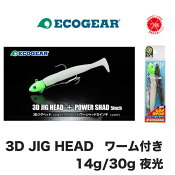 ECOGEAR / エコギア 【3D JIG HEAD PAINTED (WITH PLASTIC WORM) /3D ジグヘッド ペインテッド ワーム付き】夜光 スズキ 青物 根魚 (代引き不可商品/同梱発送可)