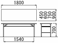 T-1860(M7)折りたたみテーブルサイズ