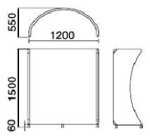 ローパーティション(エアフレット)【R型フレーム】W1200×H1500mmスクリーン簡単間仕切り可動式パーティション