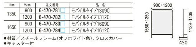 インテリアスクリーンYPモバイルタイプ【キャスター付き】【選べる張地カラー全7色】【W900×D450×H1350mm】【完成品渡し】内田洋行