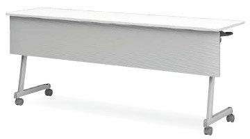 アイリスチトセ CFT89Z-1545MT フォールディングテーブル[1500W×450D×720Hmm][ABS幕板付(グレー色)][棚付][カバンフック付][アジャスター機能付キャスター付(ストッパー2ヶ所付)][選べる天板カラー全2色][お客様組立]