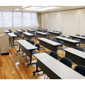 生興テーブルSTC型スタックテーブルW1325×D450×H700天板ハネ上げ式スライドスタック式コーナー幕板付棚付STC-45P