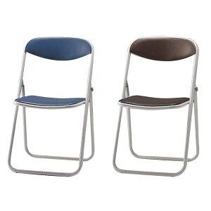 折りたたみ椅子パイプイススチール脚粉体塗装座幅405ビニールレザー張り同色6脚セットSCF03-MX