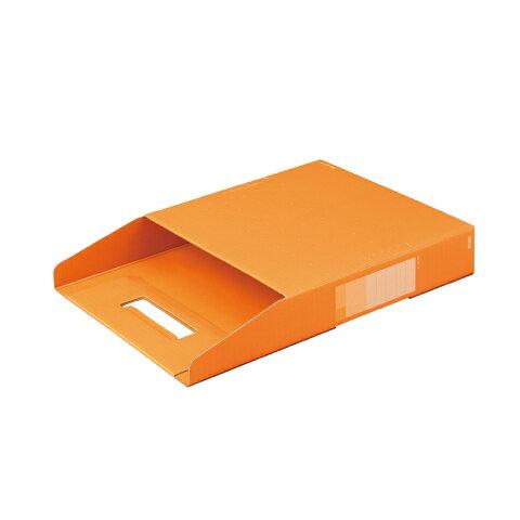 プラス(PLUS)デジャヴ ボックストレー 書類保存箱 A4 ネーブルオレンジ FL-027BF 87-754