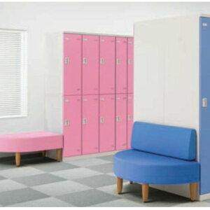 【送料無料】ロッカールームベンチ右片R型ビニールレザー(ピンク)