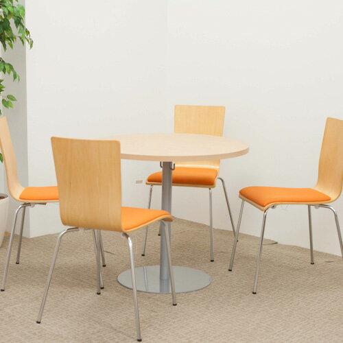 ラウンドテーブル幅80cmミーティングセット プライウッドチェア4脚セット 丸テーブル カフェテーブル リフレッシュテーブル ロビー 1400002