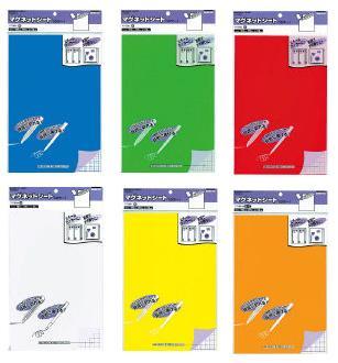 [切って書ける便利な磁気シート マク-301B青、マク-301G緑、マク-301R赤、マク-301W白、マク-301Y黄、マク-301YRオレンジ title=