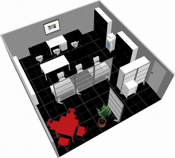 【送料無料】【smtb-TK】【クリエイティブ】SOHO家具パッケージ・45平米(6人用) モノトーンに赤のワンポイント【YDKG-tk】【fsp2124】【fs2gm】【RCP】【fs3gm】