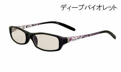 【ポイント5倍】テンプルの花柄がエレガントなUV&ブルーカットファッションシニアサングラス(老眼鏡)