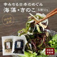 【幸みちる日本のめぐみ】海藻ミックスきのこミックス国産原料サラダ汁物酢の物炒め物わかめ茎わかめ乾昆布ふのり乾燥えのき乾燥ぶなしめじ乾燥きくらげ健康食