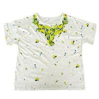 ドロップショルダーナチュラルレモン柄プリント半袖Tシャツ