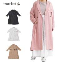 【メール便不可】【merlot】ロング丈テープベルト付きトレンチコート【メルロー】