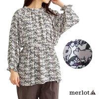 【merlot】【訳あり】総マイクロピッグ柄バックリボンブラウス【メルロー】