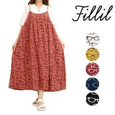 【Fillil】【訳あり】メガネ総柄プリントキャミソールワンピース【フィリル】