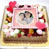 パーティーケーキ写真ケーキ大きいケーキバースデーケーキお誕生日パーティー記念日サプライズ生チョコレート10号