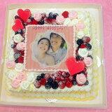 パーティーケーキ写真ケーキ大きいケーキバースデーケーキお誕生日パーティー記念日サプライズ生クリーム11号