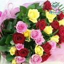 バラ30本とグリーンの花束 カラフルMIX 送料無料 結婚記念日 結婚祝い ギフト 祝い 母の日
