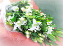 カサブランカと季節のお花の組み合わせのお供え花束。お悔やみのお花。お供え生花お供え(カサ...