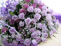 上品かつ豪華♪紫系のバラ70本の花束です。香り良し!.パープルローズ70本の花束!【送料無料】...