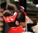 結び方手引き書付結んでお届け!正絹かのこ 七五三 日本髪 髪飾り 鹿の子