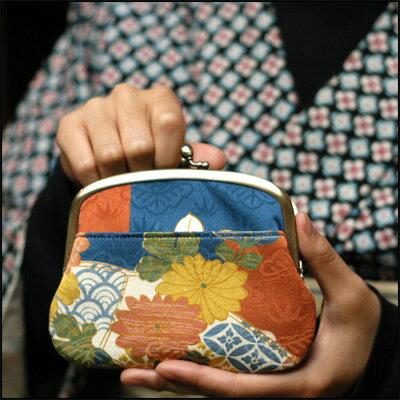 suica pasmoなどのICカード対応がま口財布古布の親子がま口 和柄 正絹 アンティーク着物 セ...