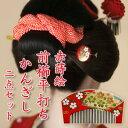 日舞・七五三に・十三参りに。つまみ細工の日本髪用髪飾り七才用かんざし赤蒔絵前櫛平打ちかん...
