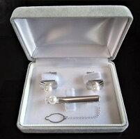 アコヤ真珠パールタイピンタイバーカフスセット02SVシルバー7.5-8.0mmホワイト