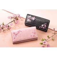 桜の刺繍をあしらった上品な財布。桜刺繍 長財布 ブラック