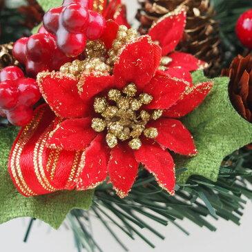 クリスマスリース15cmゴールドレッド【玄関/高級/おしゃれ/国内生産】