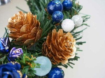 クリスマスリース15cmブルー【玄関/高級/おしゃれ/国内生産】