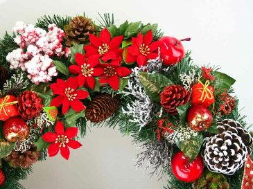 デラックスクリスマスリース50cm レッド【玄関/高級/おしゃれ/国内生産】