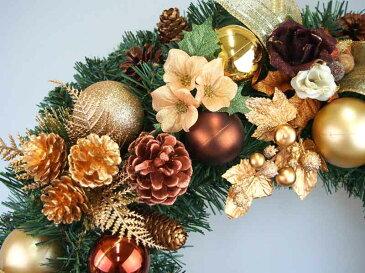 デラックスクリスマスリース50cm ゴールド【玄関/高級/おしゃれ/国内生産】