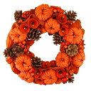 ハロウィンナチュラルリースLサイズ オレンジカラー ハロウィン パンプキン 装飾 飾り オータムリースの商品画像