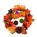 ハロウィンリース20cm ハットパンプキン ハロウィン かぼちゃ 魔女 玄関 装飾 飾り 国内生産