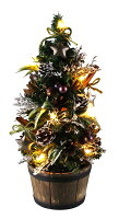 LEDミニクリスマスツリー33cmナチュラルスノー あす楽 卓上ツリー ミニツリー LEDバスケットポットツリー