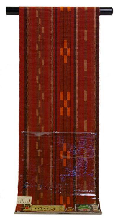 伝統的工芸品八重山みんさー八寸名古屋帯赤錆色地草木・化学染料 手織り 石垣:きものe-shopおうみ屋